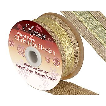 4.5m Hessian 38mm Wide Craft Ribbon with Metallic Gold Accent