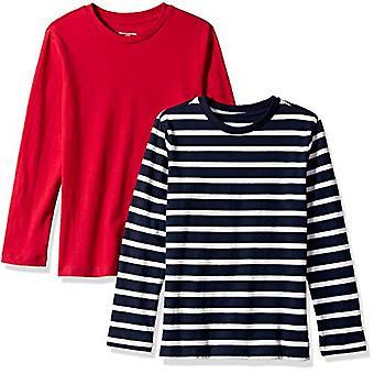 Essentials Big Boys' 2 kpl pitkähihaisia t-paitoja, yksinkertainen raita laivasto ja punainen, L(10)