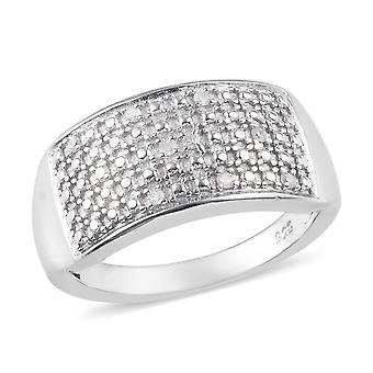 Cluster White Diamond Ring voor Vrouwen Sterling Silver Platinum Plated TJC