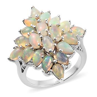 Cluster Sterling Silver Platinum Plated Ring for Women Opal, 3 Ct TJC