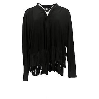 Attitudes by Renee Women's Plus Como Jersey Fringe Jacket Black A376502