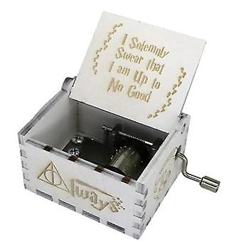 I Solemnly Swear That I Am Up To No Good Wooden Hand Crank White Music Box -