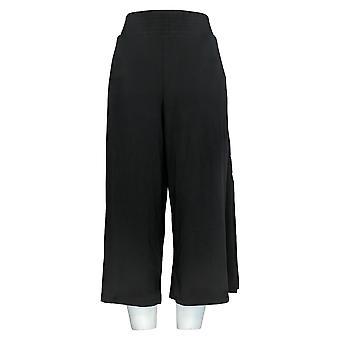 AnyBody Women's Pants Cozy Knit Wide-Leg W/Side Slit Black A353778