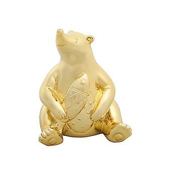 Polar Bear Resin Ornament Cartoon Decoration Hug Fish Gold