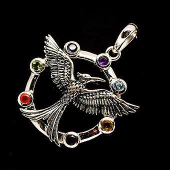 """Multi-Stone Chakra Mockingbird Hanger 1 1/2"""" (925 Sterling Silver) - Handgemaakte Boho Vintage Sieraden PD732994"""