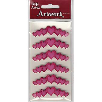 Pink Love Hearts Craft Embellishment By Artoz