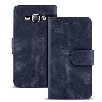Vintage Wallet for Samsung Galaxy J1 (2016) Stylish Magnetic Lock Synthetic Leather Navy
