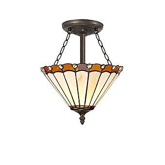 Luminosa Belysning - 3 Lys Semi Flush Loft E27 Med 30cm Tiffany Shade, Amber, Crystal, Aged Antik Messing