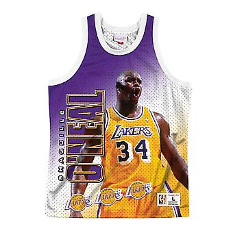 Mitchell & Ness Nba Tank Los Angeles Lakers Shaquille Oneal MSTKMI19002LALWHITSON basketbal het hele jaar mannen t-shirt