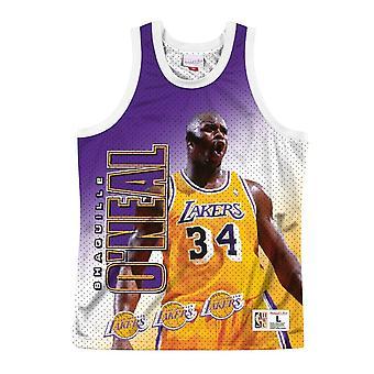 Mitchell & Ness Nba Tank Los Angeles Lakers Shaquille Oneal MSTKMI19002LALWHITSON koripallo koko vuoden miesten t-paita