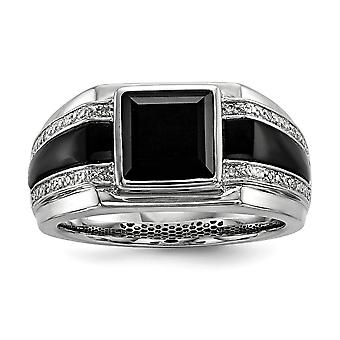 925 Sterling Silver Bezel Polished Prong set Diamond and Simulated Onyx Mens Ring Jewelry Gifts for Men - Ring Size: 9 t