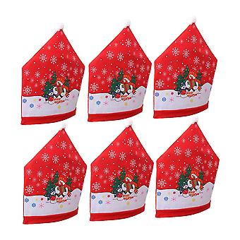 6PCS Christmas Dining Chair Back Covers Santa Claus Hat Design