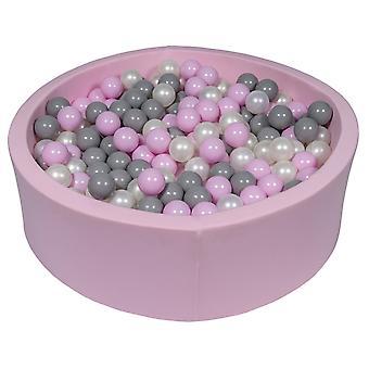 Różowy pit kulowy 90 cm z 450 kulkami z perły, jasnofioletowy i szary