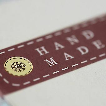 """Røde """"Håndlaget"""" knappen Mini klistremerke ark etiketter x 24-lage / bryllup favoriserer"""