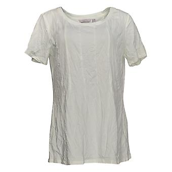 Iedereen Women's Top Cozy Knit Seamed Tee White A367645