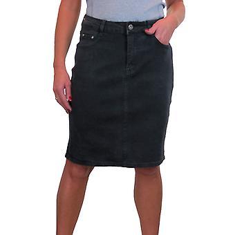 Mujer's rodilla longitud de mezclilla falda con gran falda de jeans elástico 10-22