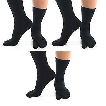 Flip Flop Tabi Socks Black Solid-3 Pairs