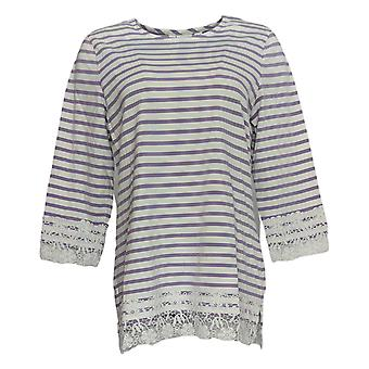 Denim & Co. Women's Top Striped 3/4 Sleeve W/ Lace Trim Purple A298421