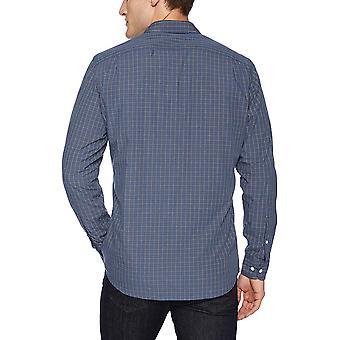 Goodthreads Men's Standard-Fit Long-Sleeve Plaid Poplin Shirt, Navy red Check...