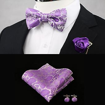 Silk Flower Business Bowtie, Men Vintage Wedding Bow Ties, Pocket Square