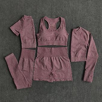 Fără sudură Femei Yoga Set Antrenament Sportwear Gym Îmbrăcăminte Fitness Mâneci lungi