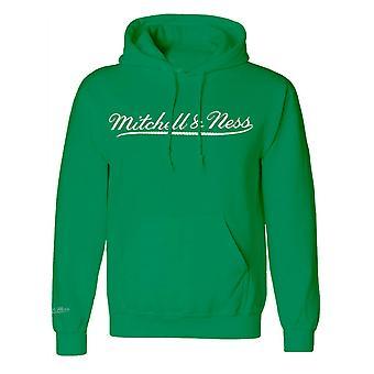 Mitchell & Ness Script Logo Green Hoodie Mens Hooded Pullover Jumper A39E