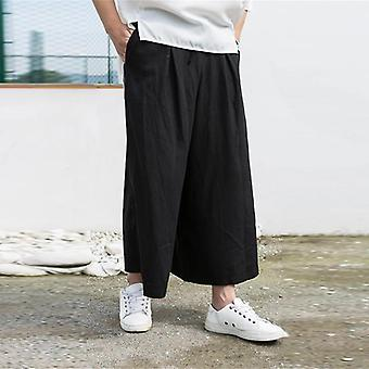 Linen Cloth Wide-leg Pants, Cotton Skirt Pant Loose Chin