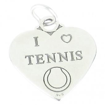 I Love Tennis Heart Sterling Silver Charm .925 X 1 Sport Sports Charms - 1857