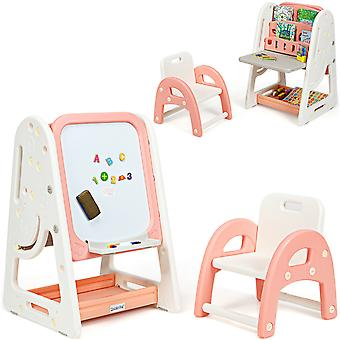 2 In 1 Kids Art Easel Foldable Double-Sided Magnetic Dry Erase Board W/ Chair