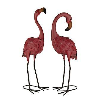 Set of 2 Decorative Metal Pink Flamingo Yard Statues