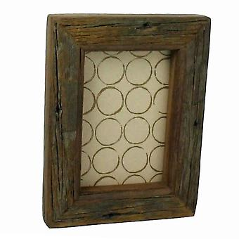 Antique Wooden Rectangular Picture Frame With Distressed Look, Small, Brown