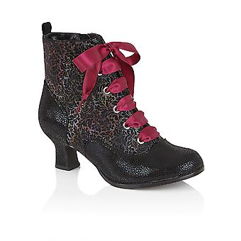 Ruby Shoo Beth Mid Heel Lace-Up Victorian Boot with Purple/Black Laces UK 3-9