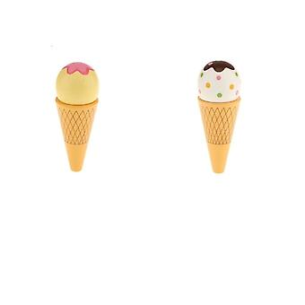 1pc Wooden Magnet Connected Ice Cream Cone Food Pretend Toy