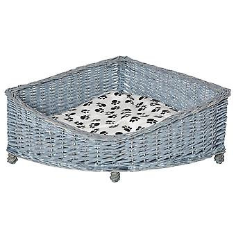 PawHut Wicker Raised Dog Bed Cat Sofa Elevated Couch Lifted Corner with Soft Plush Cushion Elevated Base Grey 68 x 68 x 32cm