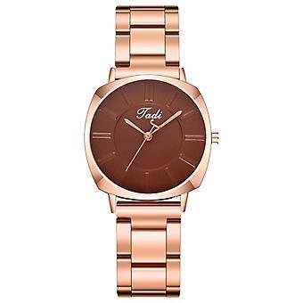 A0498 Fashion Vandtæt Simple Dial Kvinder rustfrit stål Strap Kvarts Watch