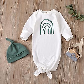 Vauvan makea tyyli sarjakuva sateenkaari tulostus makuusäkki + kiinteä hattusarja