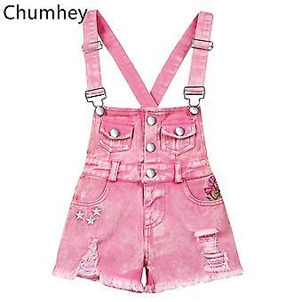 Chumhey 2-13t Kids Overalls Sommer Seler Denim Shorts Pink Jeans Tøj