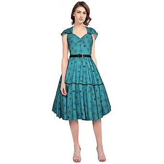 Chic Star Plus Size Printed Retro Dress In Green/Snow