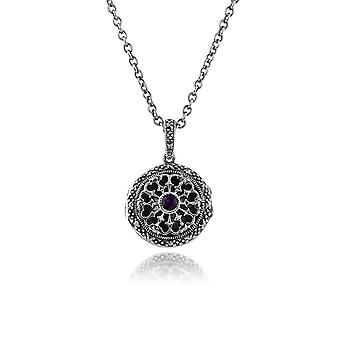 Art Nouveau Style Round Amethyst & Marcasite Locket on Chain in 925 Sterling Silver 214N551101925