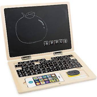 HanFei 11193 Holz-Laptop Tafel, animiert Kinder zum ersten Schreiben und Rechnen, inkl. Zubehr