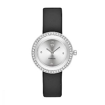 Juliette reloj femenino diamantes 0.012 quilates - pulsera de cuero negro marca blanca