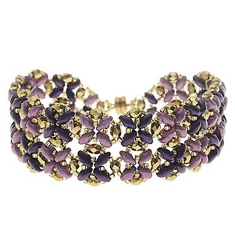 Pulsera SuperDuo Blooms - Púrpura - Kit exclusivo de joyería Beadaholique