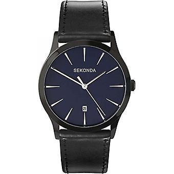 Sekonda quartz horloge met analoog display en zwarte lederen band 3536.27