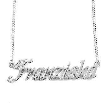 """L Franziska - 18-karat hvidguld forgyldt halskæde med brugerdefineret navn, justerbar kæde på 16 """"- 19"""", i Ref Pack. 496330313873"""