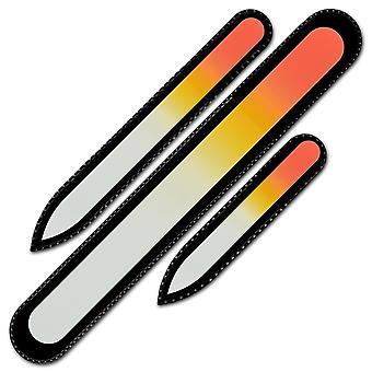 Ensemble de 3 rainbow crystal nail files, fait à la main de verre trempé tchèque R-BMS5 - Orange Jaune