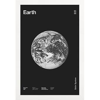 JUNIQE Print -  Earth - Planeten Poster in Grau & Schwarz