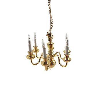 Dolls House Elite 6 Arm Brass Chandelier Candle Bulbs 12v Electric