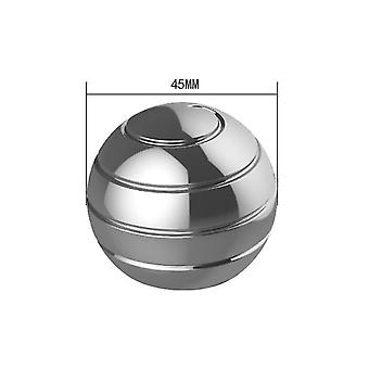 45Mm silver detachable rotating table top ball, fingertip spinning top decompression toy az4747