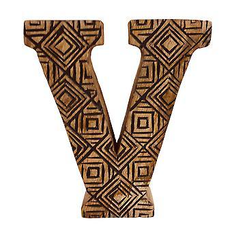 Letter V Hand Carved Wooden Geometric