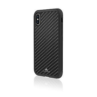 Black Rock - Robust real carbon cover för Apple iPhone Xs, svart (1 TILLBEHÖR)